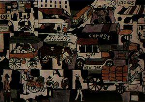 Escena callejera en Nueva York, óleo de 1921.