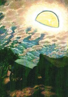 Rancho y carreta, óleo sobre tela.