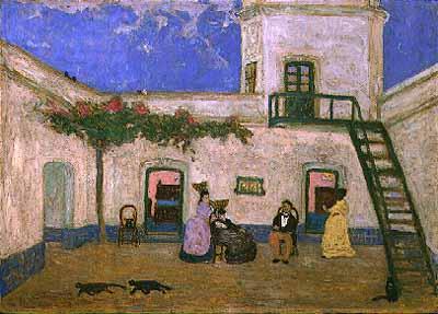 El Patio o Patio Unitario, de Pedro Figari, óleo sobre cartón.