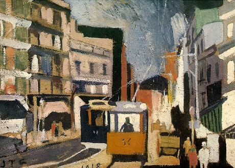 Paisaje de ciudad, óleo sobre cartón, 1928.